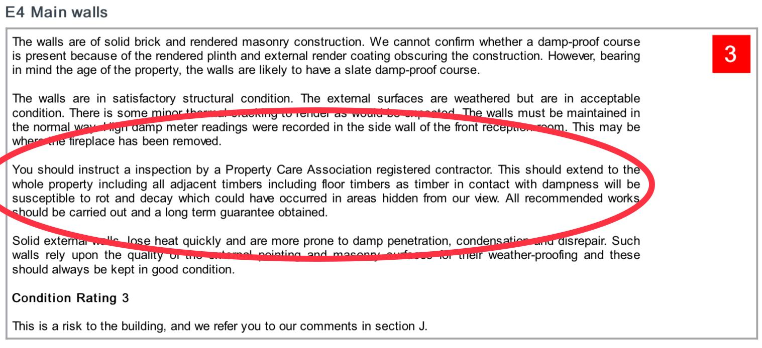 Excerpt from homebuyers report